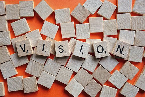 the word vision using scrabble letters